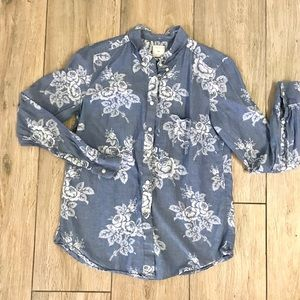 Floral chambray button down
